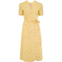 """""""Cora"""" Full Wrap Dress in Yellow Abstract Heart Print, Perfect 1950s Style"""