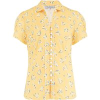 """""""Margot"""" Blouse in Yellow Abstract Heart Print, Perfect 1950s Style"""