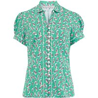 """Pre-Launch.. """"Margot"""" Blouse in Green Abstract Polka Print, Perfect 1950s Style"""