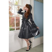"""**UK Hand Made To Order** Classic 1940s Style """"Romantica Full Skirted Rain Mac"""" in Black With Polka"""