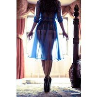 "**UK Hand Made To Order** Classic 1940s Style ""Romantica Full Skirted Rain Mac"" Blue Semi-Trans"