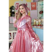 "**UK Hand Made To Order** Classic 1940s Style ""Romantica Full Skirted Rain Mac"" in Pink Pearl"