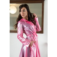 """**UK Hand Made To Order** Classic 1940s Style """"Romantica Full Skirted Rain Mac"""" in Pink with Polka"""