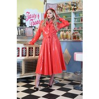 "**UK Hand Made To Order** Classic 1940s Style ""Romantica Full Skirted Rain Mac"" in Red With Polka"