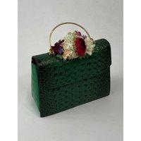 Classic Vintage Style Moc Croc Clara bag In Vintage Green