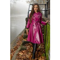"""**UK Hand Made To Order** Authentic 1950s Style """"Double Breasted and Skirted Rain Mac In Maroon Pearl"""" by Elements Rainwear"""
