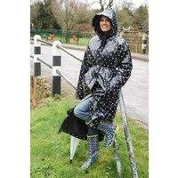 """1950s Style  """"Classic Fashion Rain Mac"""" True Vintage Style In Black Shiny With White spots"""