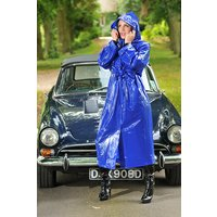 "1950s Style  ""Classic Fashion Rain Mac"" True Vintage Style In Blue Shiny"