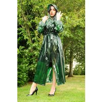 """1950s Style  """"Classic Fashion Rain Mac"""" True Vintage Style In Green Glass Clear"""