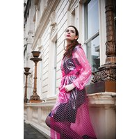 """1950s Style  """"Classic Fashion Rain Mac"""" True Vintage Style In Pink Glass Clear With White Dots"""