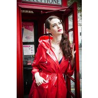 """1950s Style  """"Classic Fashion Rain Mac"""" True Vintage Style In Red Shiny"""
