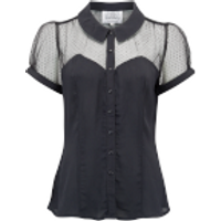 """""""Florance"""" Evening Blouse in Black with Net, Authentic 1940s Vintage Style"""