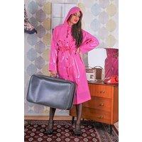 "1950s Style Inspired ""Modern Girl Rain Mac"" in Magenta Pink Gloss by Elements Rainwear"
