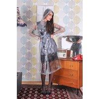 "1950s Style Inspired ""Modern Girl Rain Mac"" in Clear with Black Polka by Elements Rainwear"