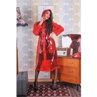 "1950s Style Inspired ""Modern Girl Rain Mac"" in Red Transparent by Elements Rainwear"