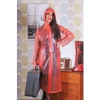 "1950s Style Inspired ""Modern Girl Rain Mac"" in Red Semi Transparent by Elements Rainwear"