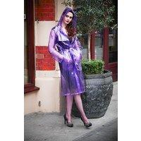 "1950s Style Inspired ""Modern Girl Rain Mac"" in Purple Transparent by Elements Rainwear"