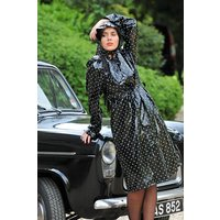 """Authentic 1940s and 50s Style """"Vintage Rain Mac and Headscarf/Bonnet"""" in Black Shiny with White Polka by Elements Rainwear"""
