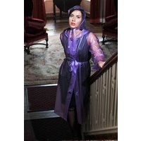 """Authentic 1940s and 50s Style """"Vintage Rain Mac and Headscarf/Bonnet"""" in Lilac Semi Trasparent by Elements Rainwear"""