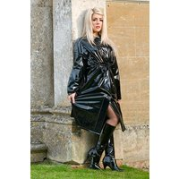 "Late 1950s and 60s Style ""Retro Coat Rain Mac"" in Black Shiny by Elements Rainwear"