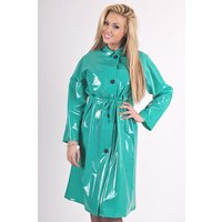 "Late 1950s and 60s Style ""Retro Coat Rain Mac"" in Green Shiny by Elements Rainwear"