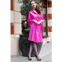 "Late 1950s and 60s Style ""Retro Coat Rain Mac"" in Pink Magenta Shiny by Elements Rainwear"