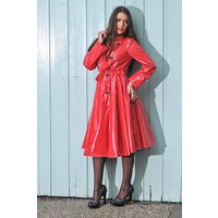 """**UK Hand Made To Order** Authentic 1950s Style """"Double Breasted and Skirted Rain Mac """" in Red Shiny by Elements Rainwear"""