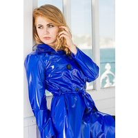 "**UK Hand Made To Order** Authentic 1950s Style ""Double Breasted and Skirted Rain Mac "" in Blue Shiny by Elements Rainwear"