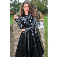 "**UK Hand Made To Order** Authentic 1950s Style ""Double Breasted and Skirted Rain Mac "" in Black Shiny by Elements Rainwear"