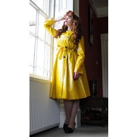 "**UK Hand Made To Order** Authentic 1950s Style ""Double Breasted and Skirted Rain Mac "" in Mustard Yellow Matt by Elements Rainwear"