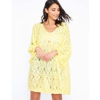 Anissa - Flared Sleeve Lace Yellow Tunic - One Size / Yellow