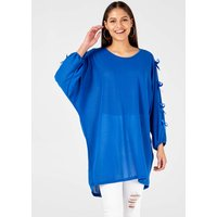 Addie - Tie Sleeve Tunic Royal Blue Dress - One Size / Royal Blue