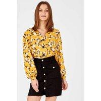Alexia - Floral Print Button Through Tie Front Mustard Blouse Mustard