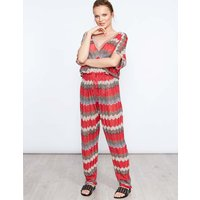 Baylor - Zig Zag Tie-waist Red Jumpsuit - One Size / Red