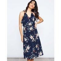 Ahuva - Halter Floral Print Midi Navy Dress Navy