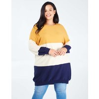 RENEE - Curve Ribbed Oversized Colour Block Jumper - 22/24 / MUSTARD