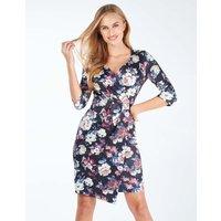 Abigail - Wrap Front Pleated Floral Print Dress Black