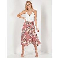 Arabella - Floral Print Blush Midi Wrap Skirt Blush