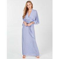 Aria - Kimono Sleeve Tie Maxi Lilac Dress Lilac