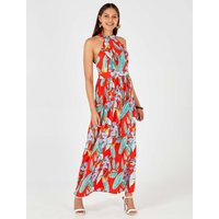 Adriana - High Neck Tie Back Floral Print Red Maxi Dress Red