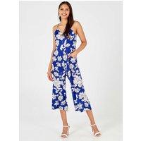 Orelia - Blue Tie Back Culotte Jumpsuit Blue