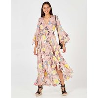 Alicia - Floral Print Flare Sleeve Wrap Pink Maxi Dress Pink