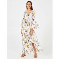 Alicia - Floral Print Flare Sleeve Wrap White Maxi Dress White