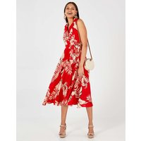 Ashley - Red Collar Wrap Front Midi Dress Red