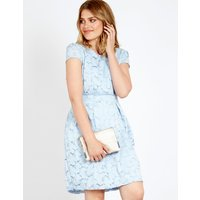 Asher - Floral Lace Tie Back Dress Blue Blue