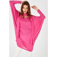 Anamika - Oversized Pink Top With Scarf - One Size / Pink