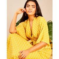 Aria - Kimono Sleeve Tie Maxi Yellow Dress Yellow
