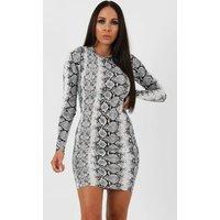 Animal Snake Print Long Sleeve Bodycon Dress - Michelle