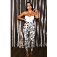 Animal Zebra Print High Waisted Pu Leggings - Mimi
