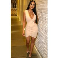 Baby Pink V Neck Wrap Mini Dress - Stacey